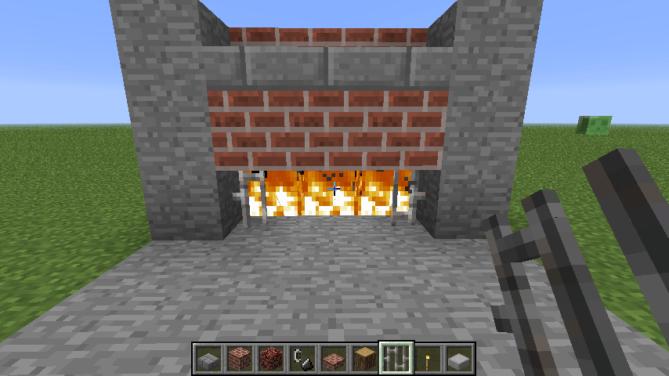 Шаг второй - придумываем и воплощаем дизайн камина. Как построить камин в Minecraft? Выстраиваем блоки-стенки, придумываем внешний вид, отделку и окружение. Тут уж, у кого на что фантазии хватит. Например: