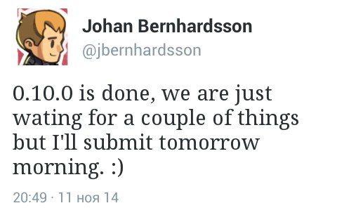После выхода build 5 Tommaso написал, что вскоре появится версия для Apple  Список изменений  Завтра (12.11.14) Томми пообещал выход полной версии Minecraft PE 0.10.0!!!