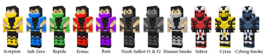 Многие из Вас знают серию фильмов и игр Mortal Kombat. Предлагаем подборку скинов персонажей из Mortal Kombat. Выбирайте скин любимого персонажа Mortal Kombat, скачивайте его и играйте в майнкрафт.