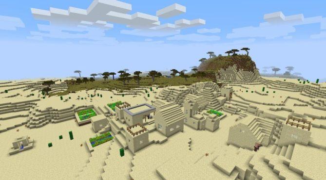 В версии 0.15.0 build 3 добавили генерацию деревень в пустыне и тайге. Почитай другие изменения версии 0.15.x