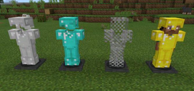 Мод Armor Stand добавит стойки для брони в карманный майнкрафт как в ПК версии